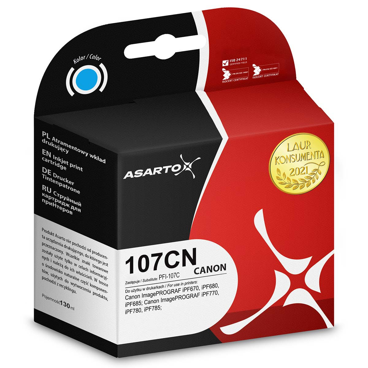 Tusz Asarto do Canon 107CN | 6706B001 | 130 ml | cyan